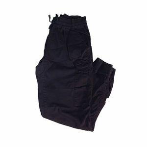 BLACK CARGO PANTS WITH DRAWSTRING SIZE LARGE